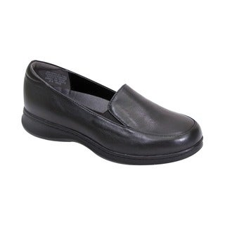 FIC 24-hour Comfort Olivia Women Adjustable Wide-width Leather Comfort Loafer for Everyday