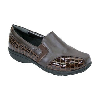 FIC Women's Agatha Black/Brown Nappa Leather Adjustable Extra-wide Step-in Dress Loafers
