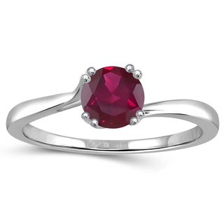 Jewelonfire 0.65-carat Total Weight Ruby Gemstone Sterling Silver Solitaire Ring