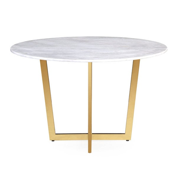 Maxim White Marble Dining Table Free Shipping Today Overstock