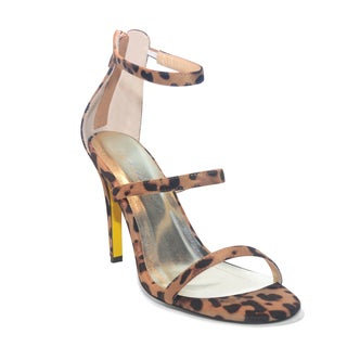 Lonia Shoes Women's Gloria Animal-print Suede 3-strap Sandal