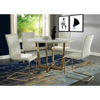 Maxim White Faux-leather/Steel/Wool Dining Chair