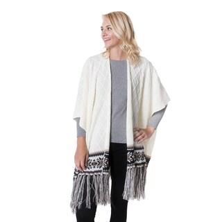 MUK LUKS Women's Off-White Acrylic Knit Fringe Ruana