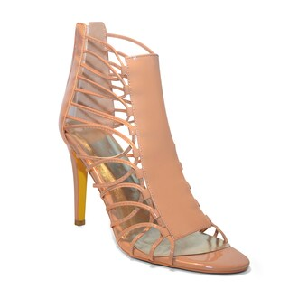 Lonia Shoes Kayla Tan Patent Leather Strappy Sandal