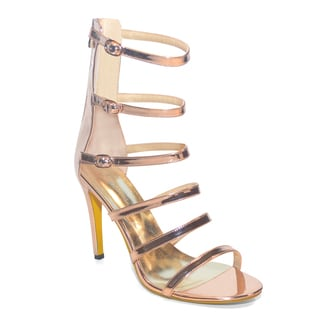 Lonia Shoes Women's Amelie Gold Patent Leather 6-strap Sandal