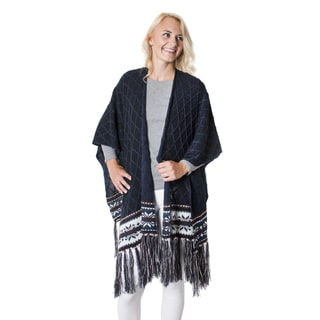 Muk Luks Women's Blue Acrylic Knit Ruana with Fringe