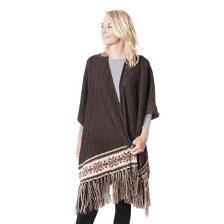 Muk Luks Women's Brown Knit Fringe Ruana