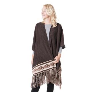 Muk Luks Women's Brown Knit Fringe Ruana