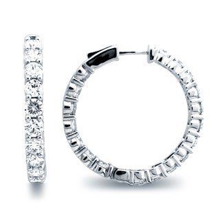 Azaro 18k White Gold 7 5/8ct TDW Diamond Hoop Earrings (G-H, SI1-SI2)