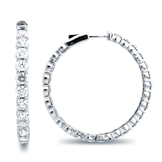 Azaro 14k White Gold 9 1/2ct TDW Diamond Hoop Earrings (G-H, SI1-SI2)