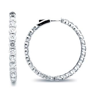 Azaro 14k White Gold 9 1/2ct TDW Diamond Hoop Earrings