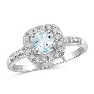 Jewelonfire 0.45 CTW Aquamarine Gemstone & 1/10 CTW White Diamond Ring in Sterling Silver