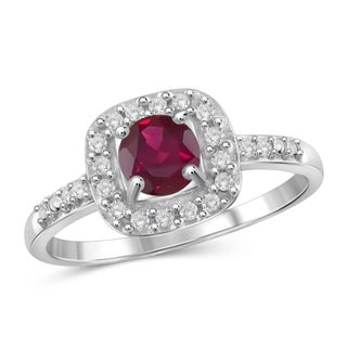Jewelonfire 0.65 CTW Ruby Gemstone & 1/10 CTW White Diamond Ring in Sterling Silver
