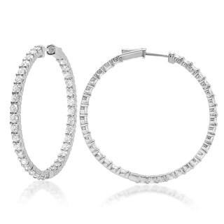 Azaro 14k White Gold 6 1/3ct TDW Diamond Hoop Earrings