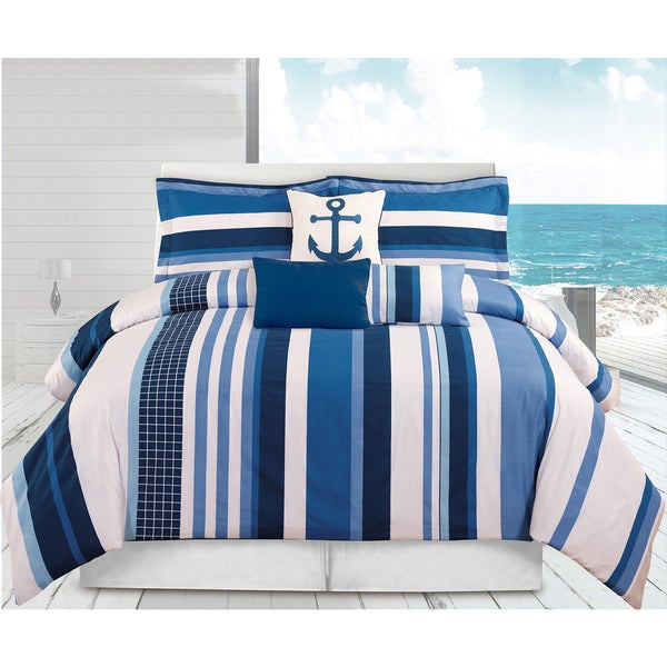 Celeste Blue Stripe 6-piece Comforter Set