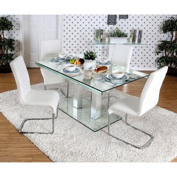 Furniture Of America Ezreal Contemporary Tempered Glass Silver Dining Table    Free Shipping Today   Overstock.com   19326962