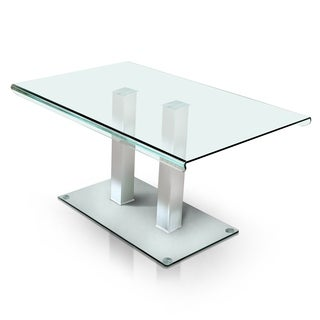 Furniture of America Ezreal Contemporary Tempered Glass Silver Dining Table