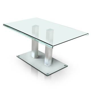 furniture of america ezreal contemporary tempered glass silver dining table - Square Glass Dining Table