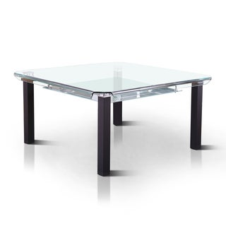 Furniture of America Kassell Contemporary Square Tempered Glass Top Dining Table