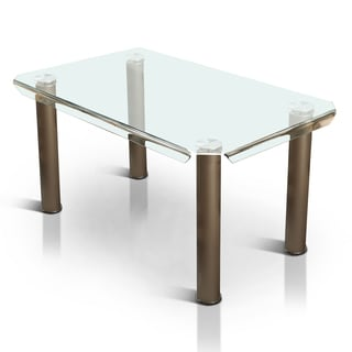 Furniture of America Contemporary Tempered Glass 59-inch Dining Table