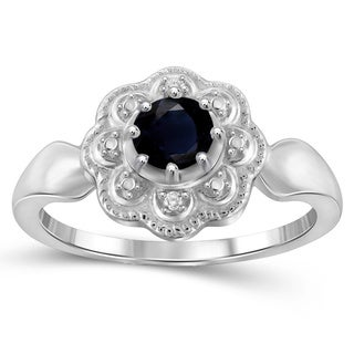 Jewelonfire Sterling Silver Sapphire Gemstone and Diamond Accent Flower Ring