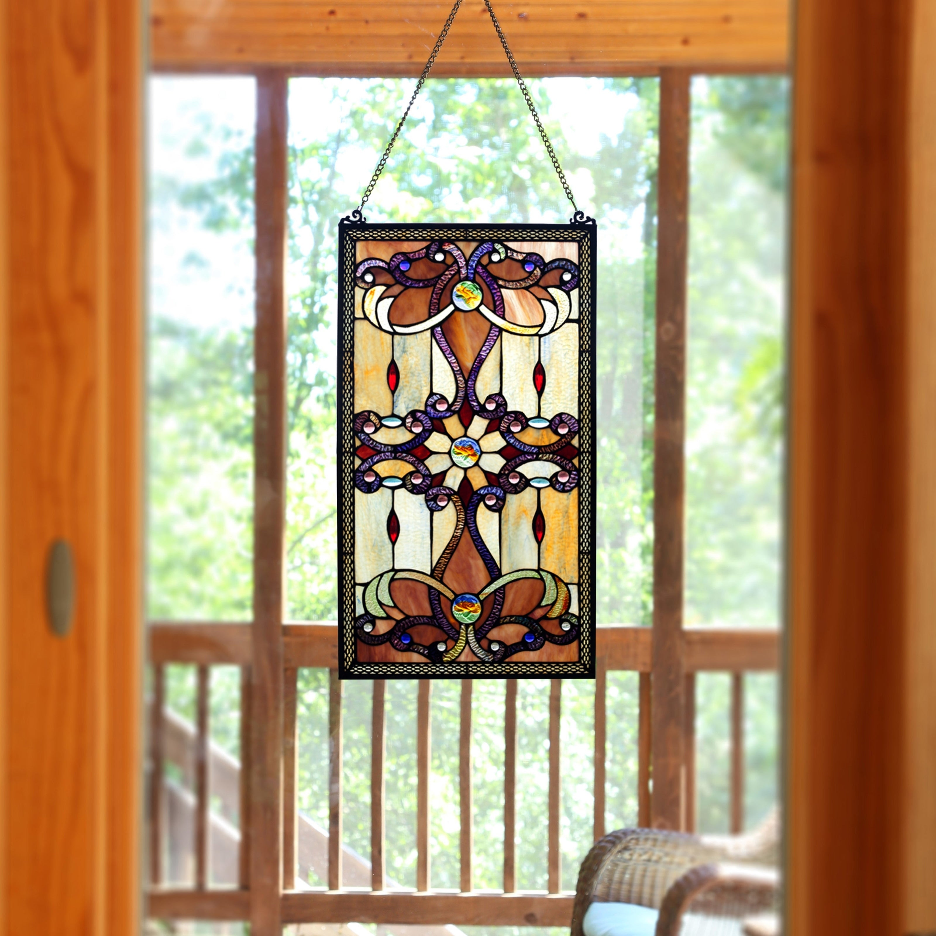 Shop Black Friday Deals On River Of Goods Brandi S Amber Stained Glass 26 Inch Window Panel M Overstock 12521485