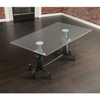 Furniture of America Haymill Industrial Antique Black Glass Top Dining Table