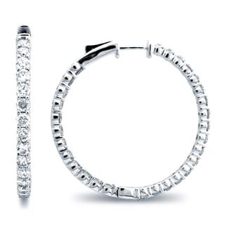 Azaro 14k White Gold 3 2/5ct TDW Diamond Hoop Earrings (G-H, SI1-SI2)