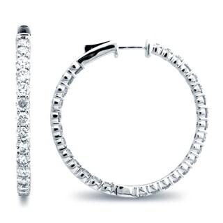 Azaro 14k White Gold 3 2/5ct TDW Diamond Hoop Earrings