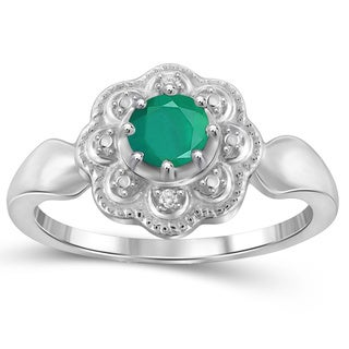 Jewelonfire Sterling Silver Emerald Gemstone and Diamond Accent Flower Ring