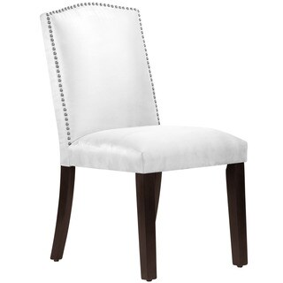 Skyline Furniture White Wood/Micro-suede Nail Button Arched Dining Chair