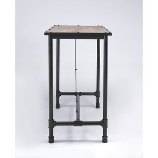 Caitlin Rustic Oak and Metal Bar Table