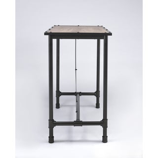 Nice Caitlin Rustic Oak And Metal Bar Table