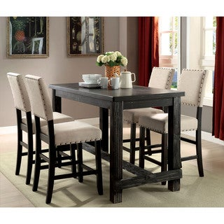 Furniture of America Telara Contemporary Antique Black Counter Height Chair (Set of 2)