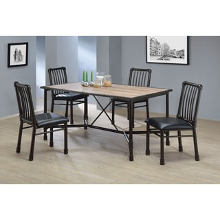 Caitlin Industrial Oak Black Dining Table