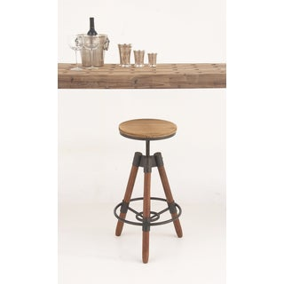 Urban Designs Wood Metal Adjustable Height Sturdy Bar Stool