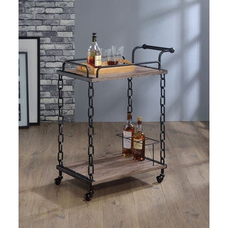Jodie Antique Black & Rustic Oak Serving Cart
