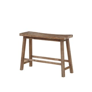 Sonoma Grey Wood Saddle Dining Bench