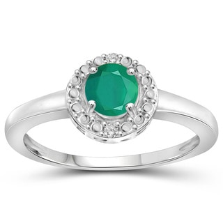 Jewelonfire Sterling Silver Emerald Gemstone and Diamond Accent Ring