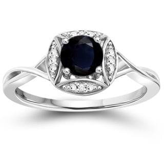 Jewelonfire Sterling Silver Sapphire Gemstone and Diamond Accent Ring