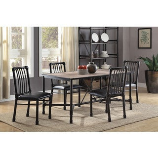 Caitlin Black Metal/Faux-leather Dining Chair (Set of 2)