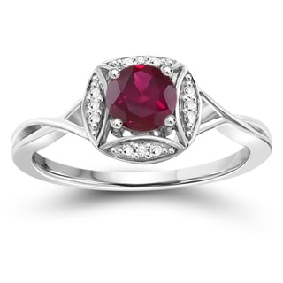 Jewelonfire Sterling Silver Ruby Gemstone and Diamond Accent Ring