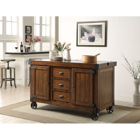 Kabili Tobocco-colored Wood/MDF/Metal Antique Kitchen Cart