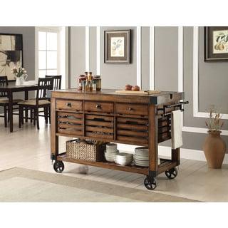 Kaif Distressed Chestnut Kitchen Cart