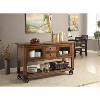 Kailey Wood And Metal Distressed Oak Finish Kitchen Cart