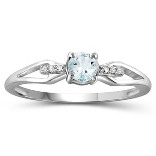 Jewelonfire Sterling Silver Aquamarine Gemstone and Diamond Accent Ring