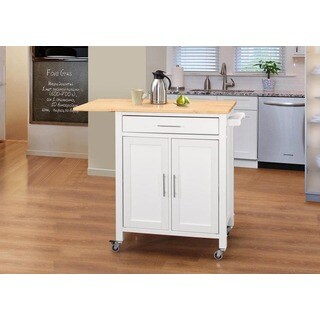 Vermont White Rubberwood Natural Top Kitchen Cart