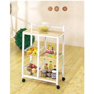 Sitara White Metal/Wood Kitchen Cart