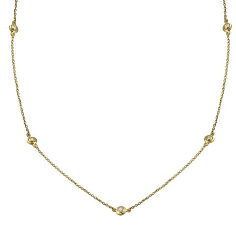14k Yellow Gold Diamond Necklace 16 to 24 Inches Long