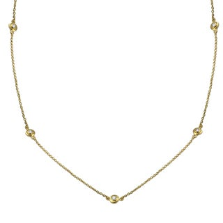 Beverly Hills Charm 14k Yellow Gold 16 to 24 Inches Diamonds By The Yard Necklace (H-I, I2-I3)